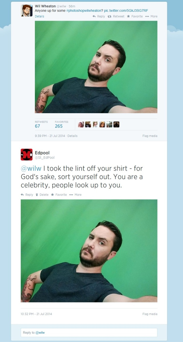Wil Wheaton asked to be shopped.