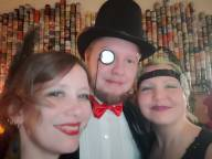 Mrs. Hatboy, Ossi and Saila. The monocle is clearly magnetic. I mean it's counteracting the whole Amish beard deal, and that's not nothin'.